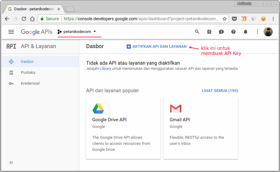 Activation of Google services