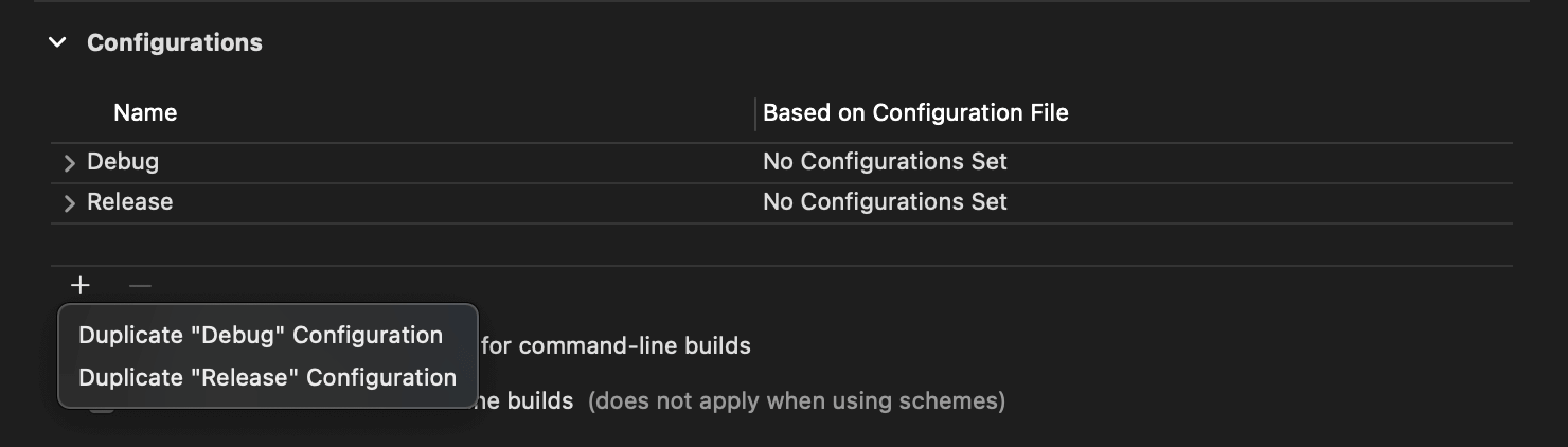 Duplicate Debug and Release configurations for each environment.
