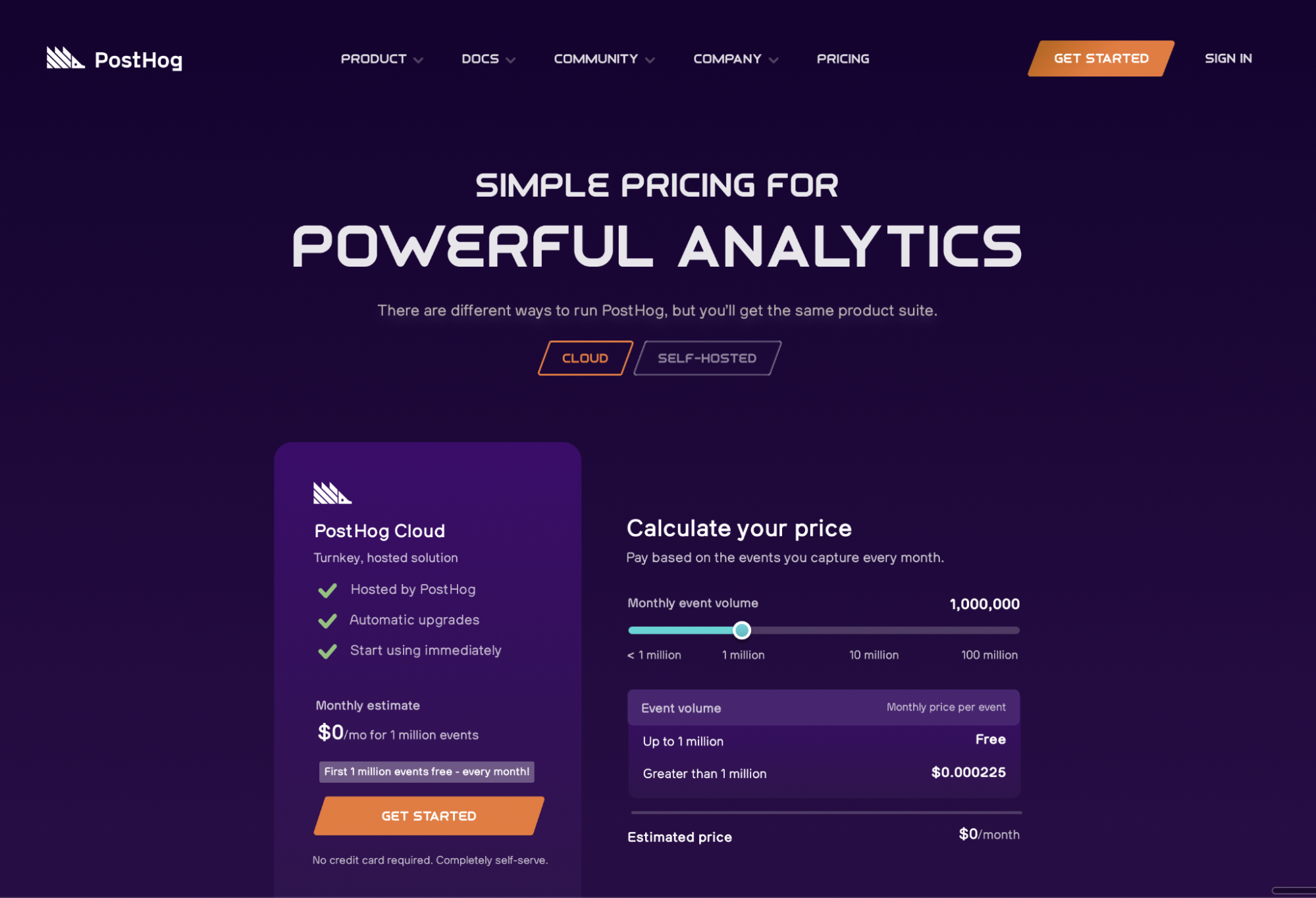 Space brand - PostHog pricing page