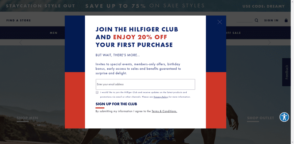 Tommy Hilfiger Welcome Popup