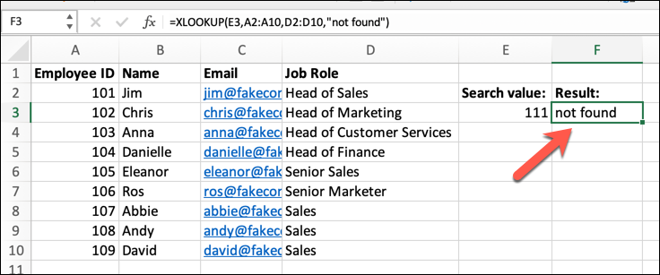 An Excel spreadsheet containing four columns of data: Employee Name, ID, Email Address, and Job Role. In this instance, a not_found argument has been added to the XLOOKUP formula.