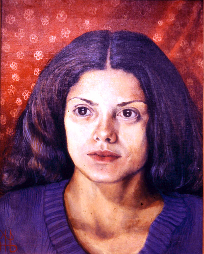 painting of girl with dark hair against red fabric background