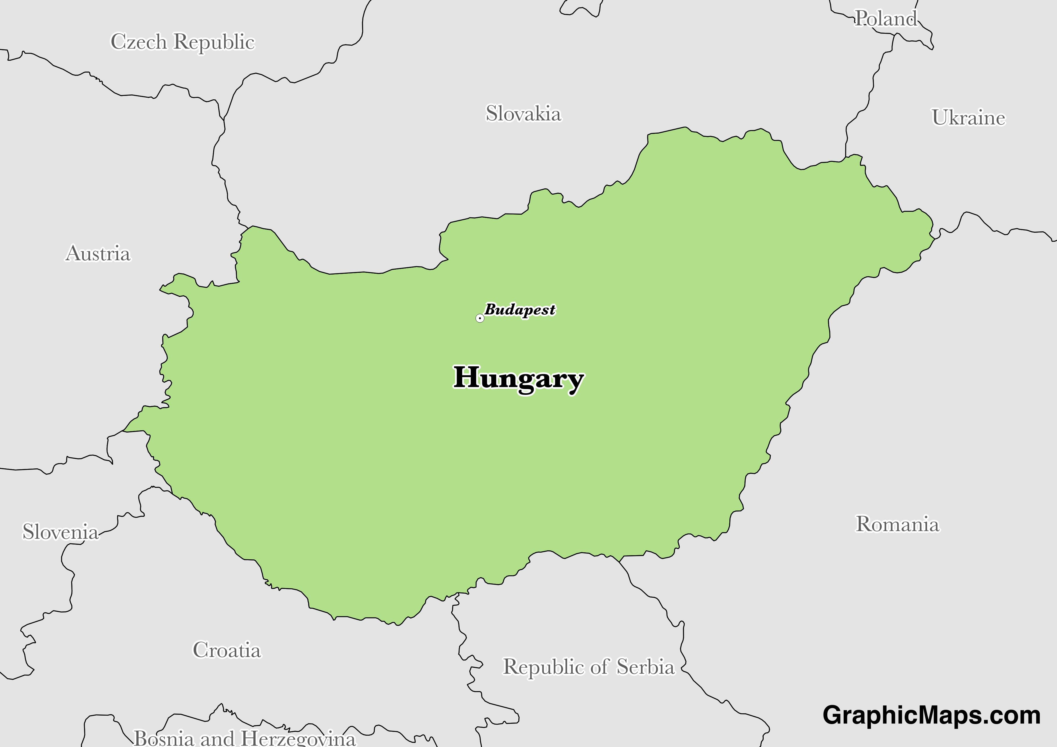 Map showing the location of Hungary