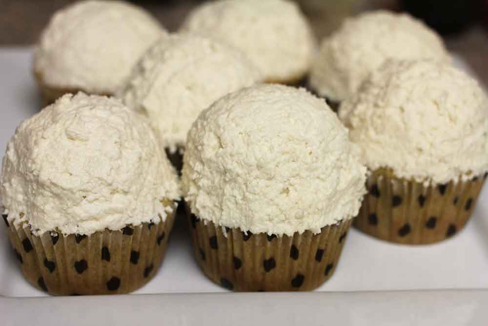 Vegan coconut cupcakes with coconut frosting