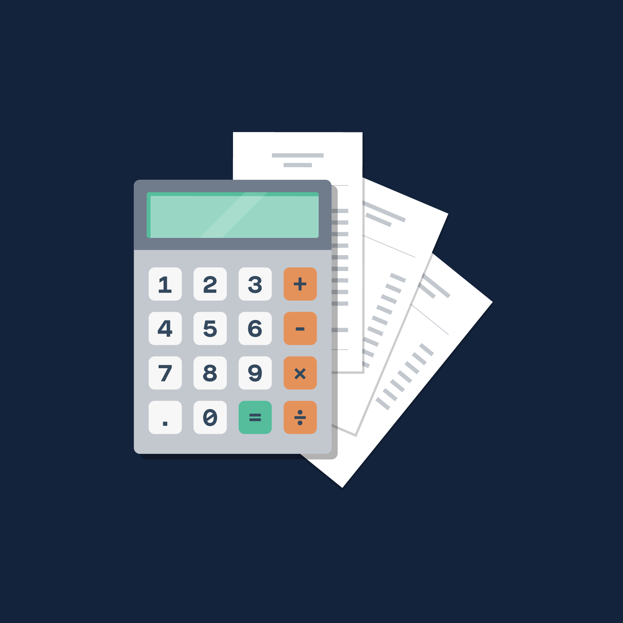 Illustration of a calculator and some bills