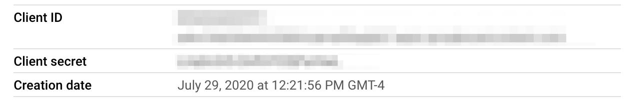 Google OAuth 2.0 client details