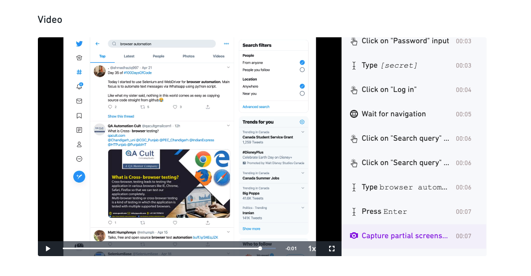 Execution details - Screenshot top search results on Twitter - Browse AI