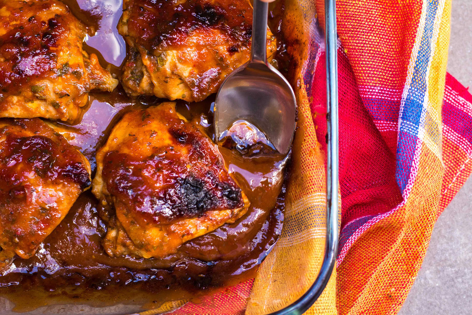 Baked BBQ chicken with homemade BBQ sauce
