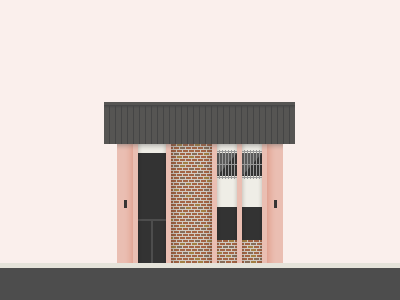 A simple vector illustration of a salmony-pink building with 1970s brick and bars on the windows