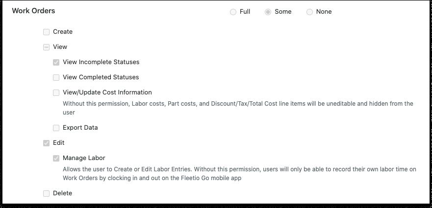 new work order settings