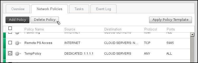 Network Policy Delete Screenshot; Check TempPolicy, Click Delete Policy