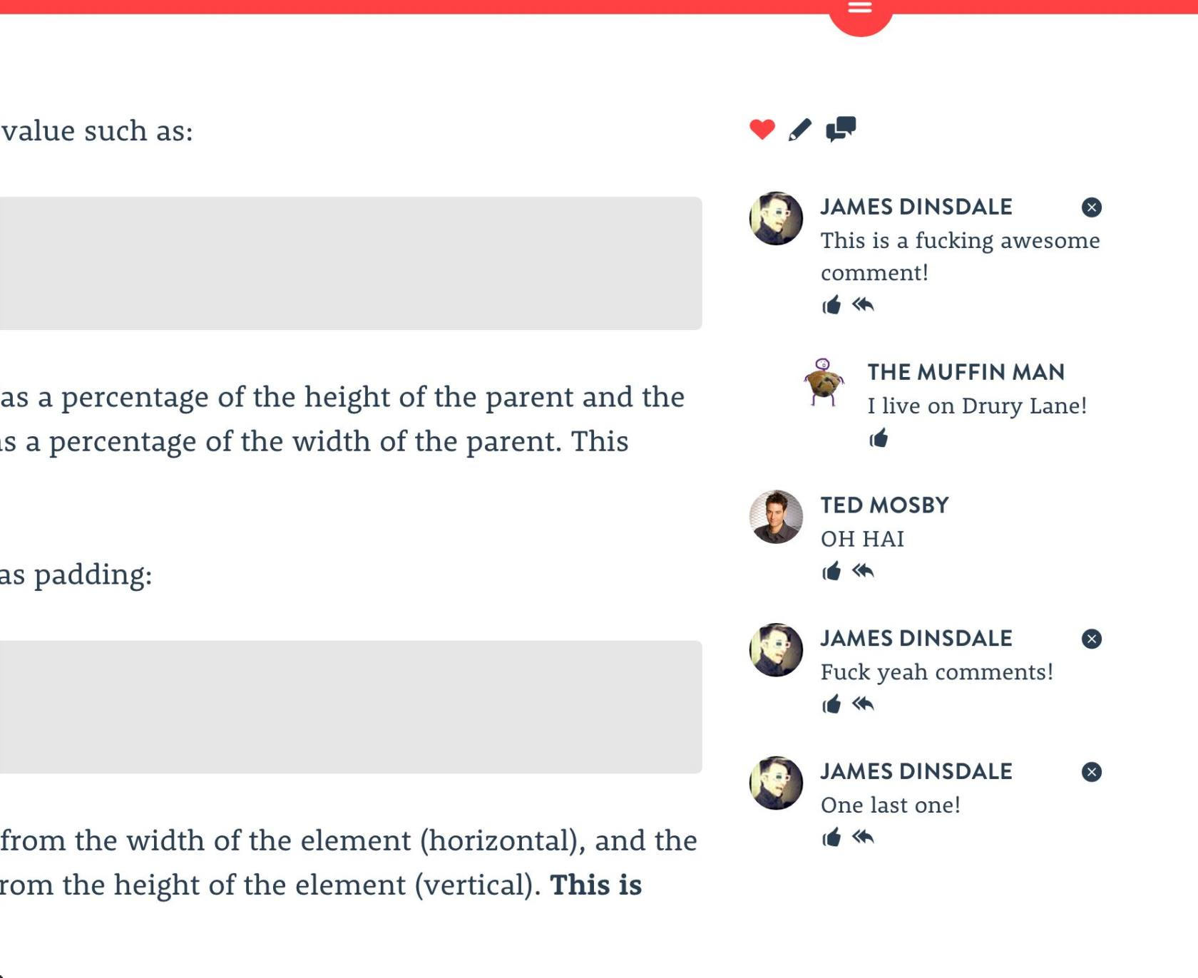 A screenshot of the commenting service Chatter, which I launched in 2013, appearing on an older version of this blog.