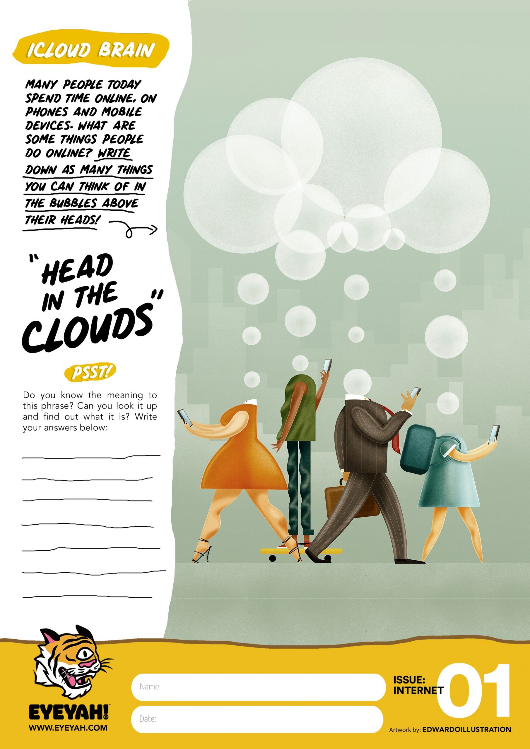 head in the clouds coloured worksheet