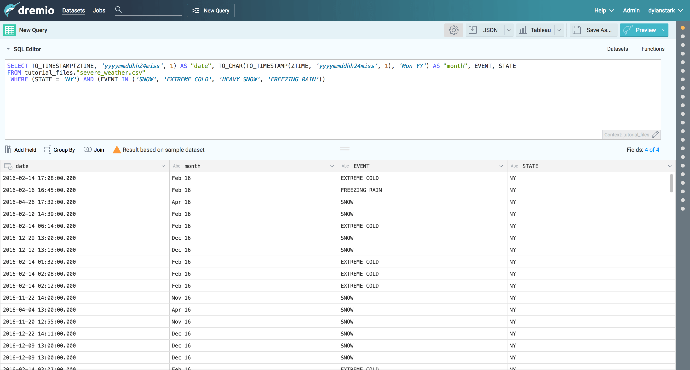 Dremio and D3 tutorial - curated weather data