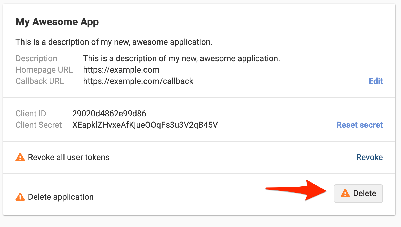 Delete Application