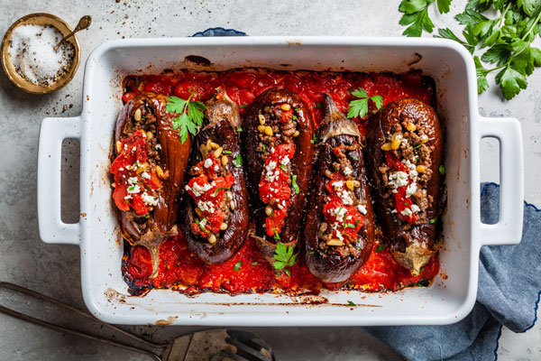 Middle Eastern Meat Stuffed Eggplant