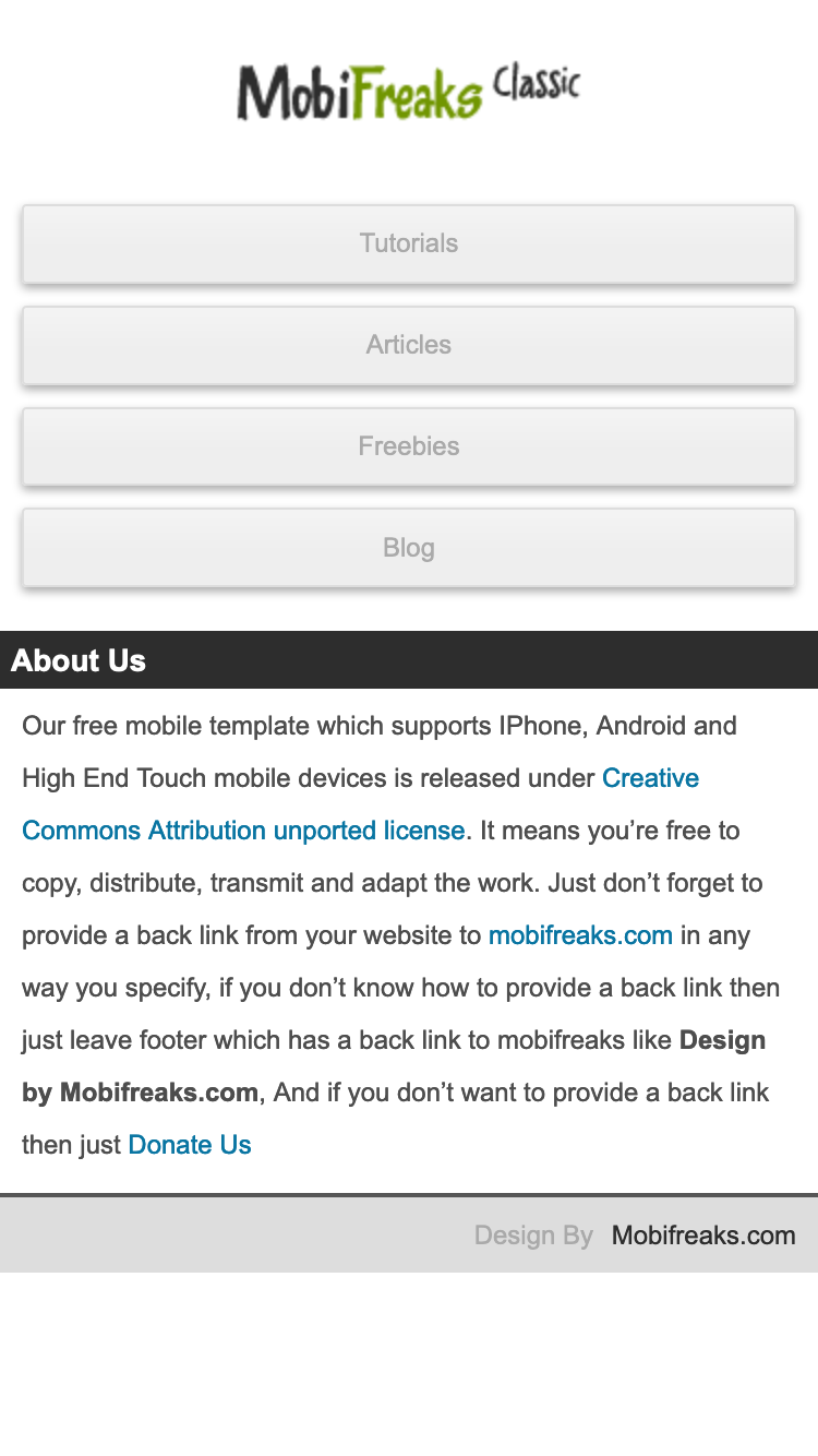 Screenshot of MF Classic mobile website template