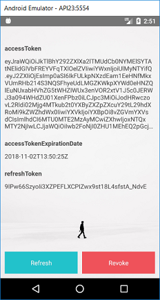 Screen with access token and refresh token