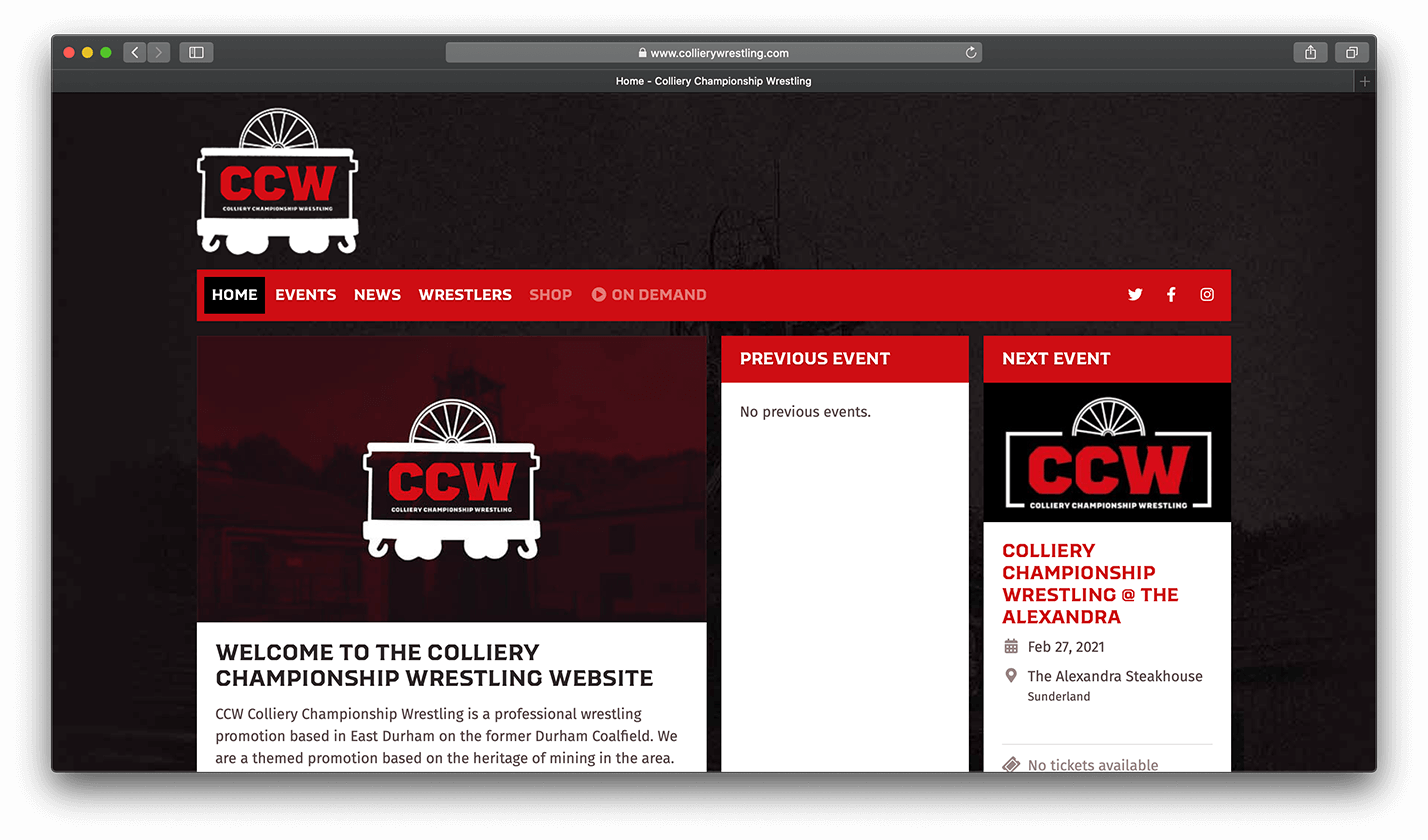 Colliery Championship Wrestling website screenshot