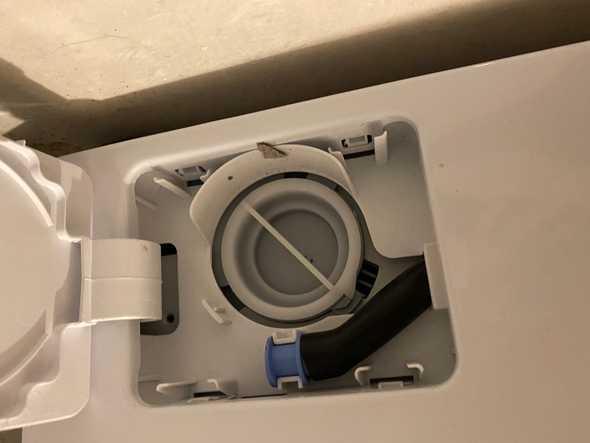 wasmachine filter van dichtbij