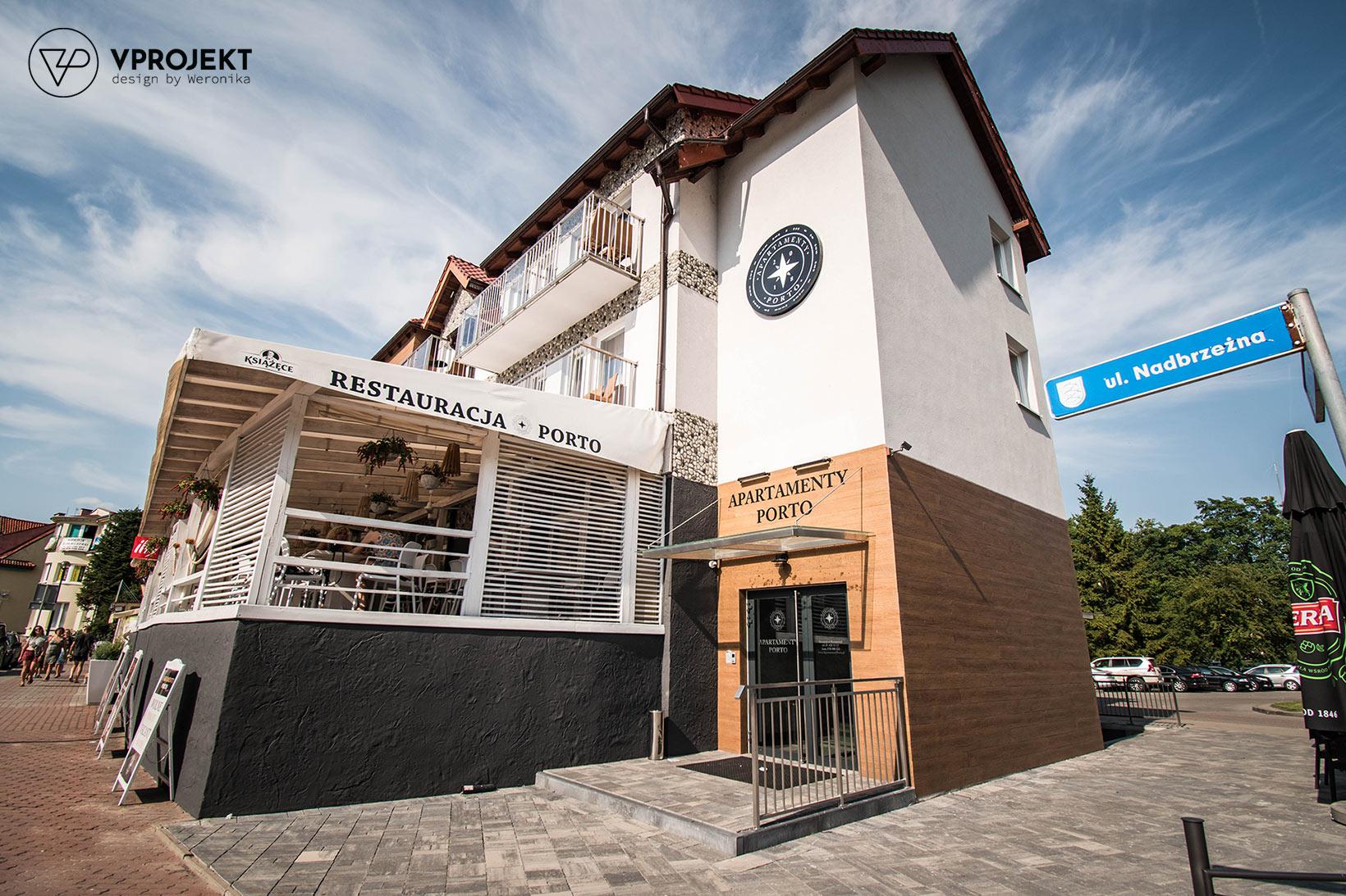 Budynek mieszczący apartamenty i restaurację Porto