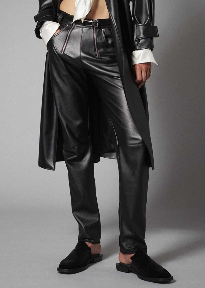 THOR vegan leather trouser in black. GmbH Spring/Summer 2021 'RITUALS OF RESISTANCE'
