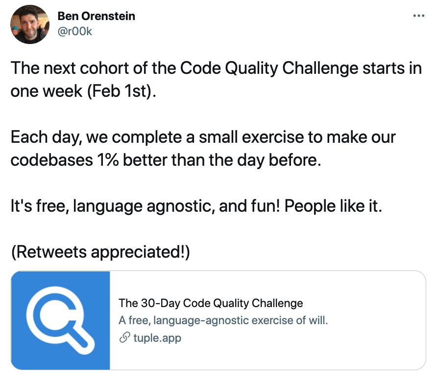 Code Challenge announcement tweet