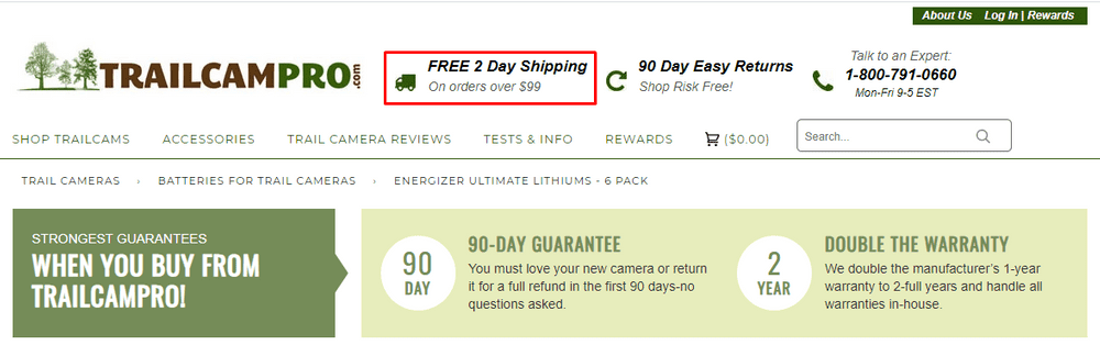 13 free shipping mention in website header