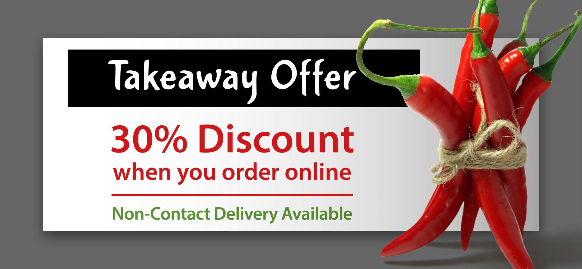 30% Discount on Takeaways Offer