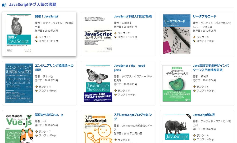JavaScript 人気の書籍ランキング