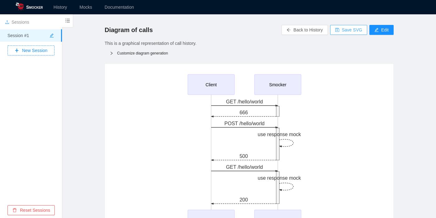 Smocker's user interface - History visualization
