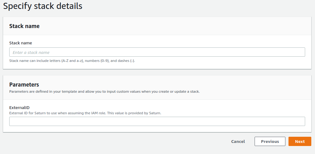 Screenshot of AWS Console showing Create Stack form, with Stack Name and Parameters shown