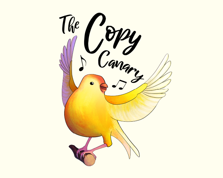Copy canary logo: a yellow and purple canary with script font title.