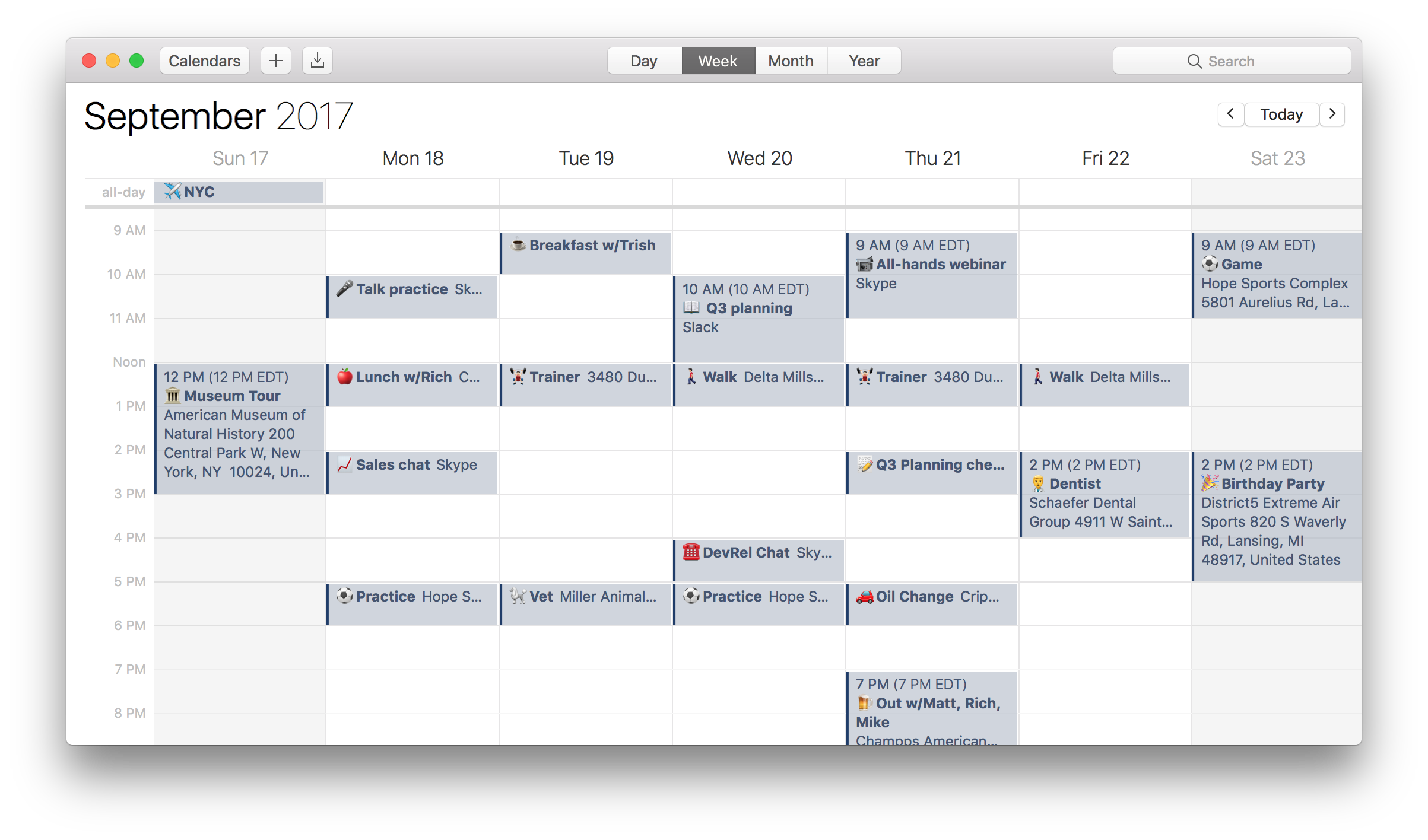 A calendar with emoji in calendar events