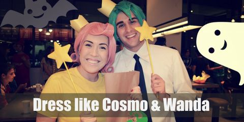 Unlike typical fairy godpeople, Cosmo and Wanda dress quite comfortably. Cosmo wears a simple dress shirt and pants and Wanda has on a bright yellow shirt with black tights.