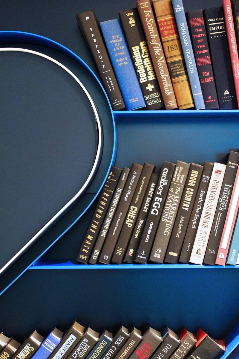Closeup view of a 2u-shaped bookcase