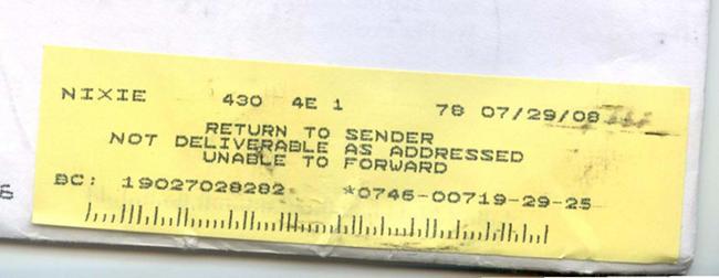 Return to Sender - Not Deliverable As Addressed