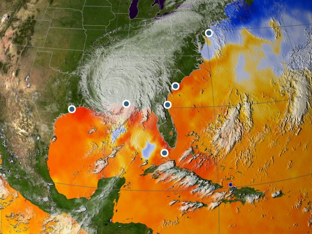 The study is based on data from monitoring stations along the Eastern Seaboard of the United States, where the daily tide levels have been recorded all the way back to 1923. Rapid changes in sea level show that there has been a tropical storm. The map shows cloud cover and ocean temperatures when Hurricane Katrina hit New Orleans in 2005. Warm colors show ocean temperatures exceeding 28° C which can strengthen hurricanes. Background image: NASA/GSFC.