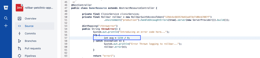 Screenshot of source control repository