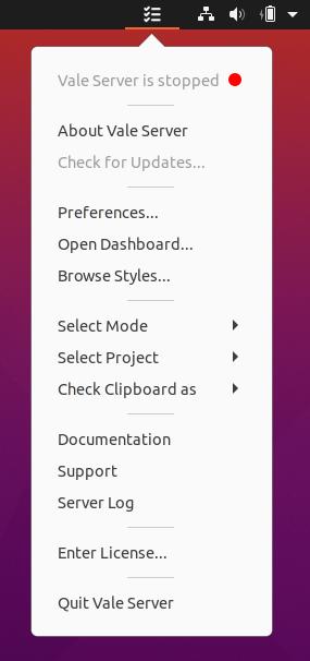 A screenshot of Vale Server's context menu.