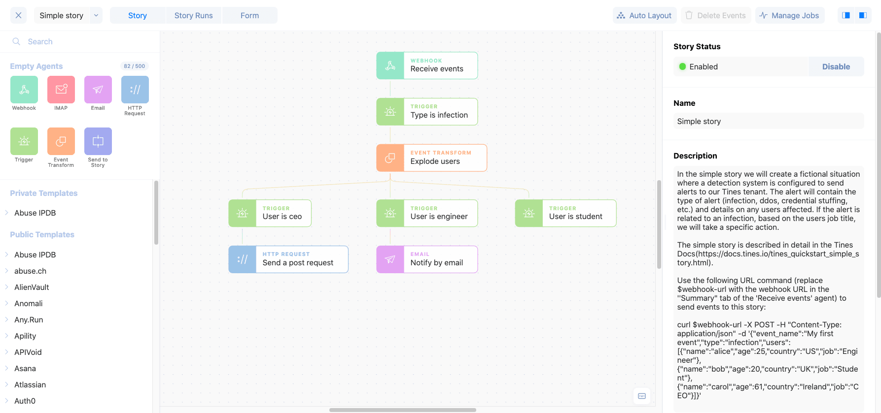 Simple story agent event flow