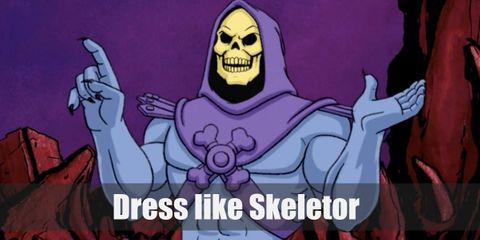 Skeletor has a skull for a head which is dressed up by a purple hooded chest armor. He also wears dark purple boots and his skin color is a lighter purple as well