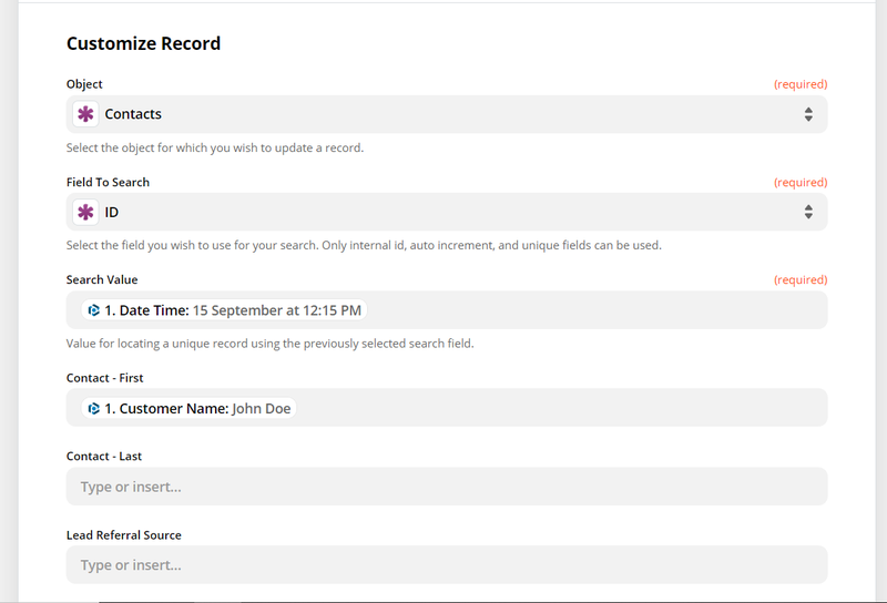 customize data fields to create record in Knack database