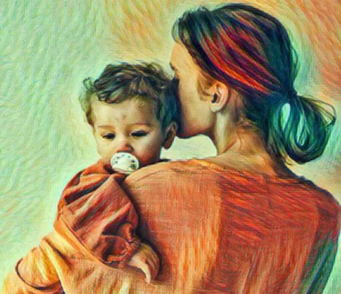 Illustration of a mother standing and holding her toddler