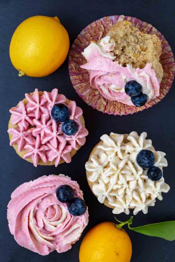 Vegan Lemon Cupcakes with Hibiscus Frosting