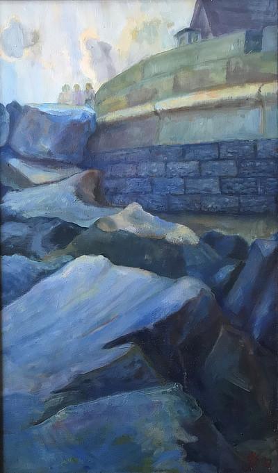 painting of Sandgate seawall in blue shades