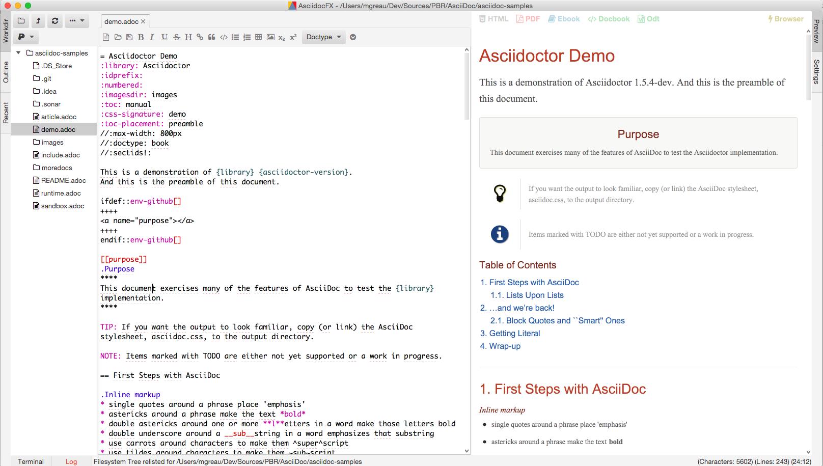 AsciidocFX Editeur