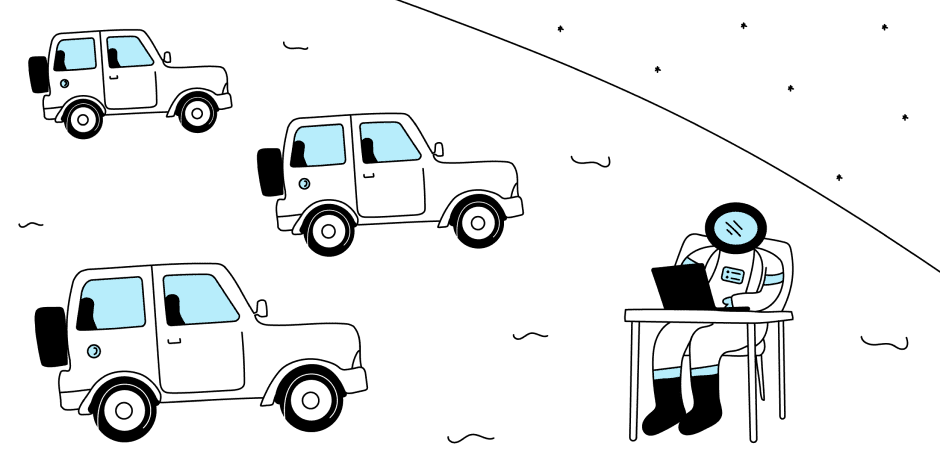 An illustration of a developer working with connected cars.