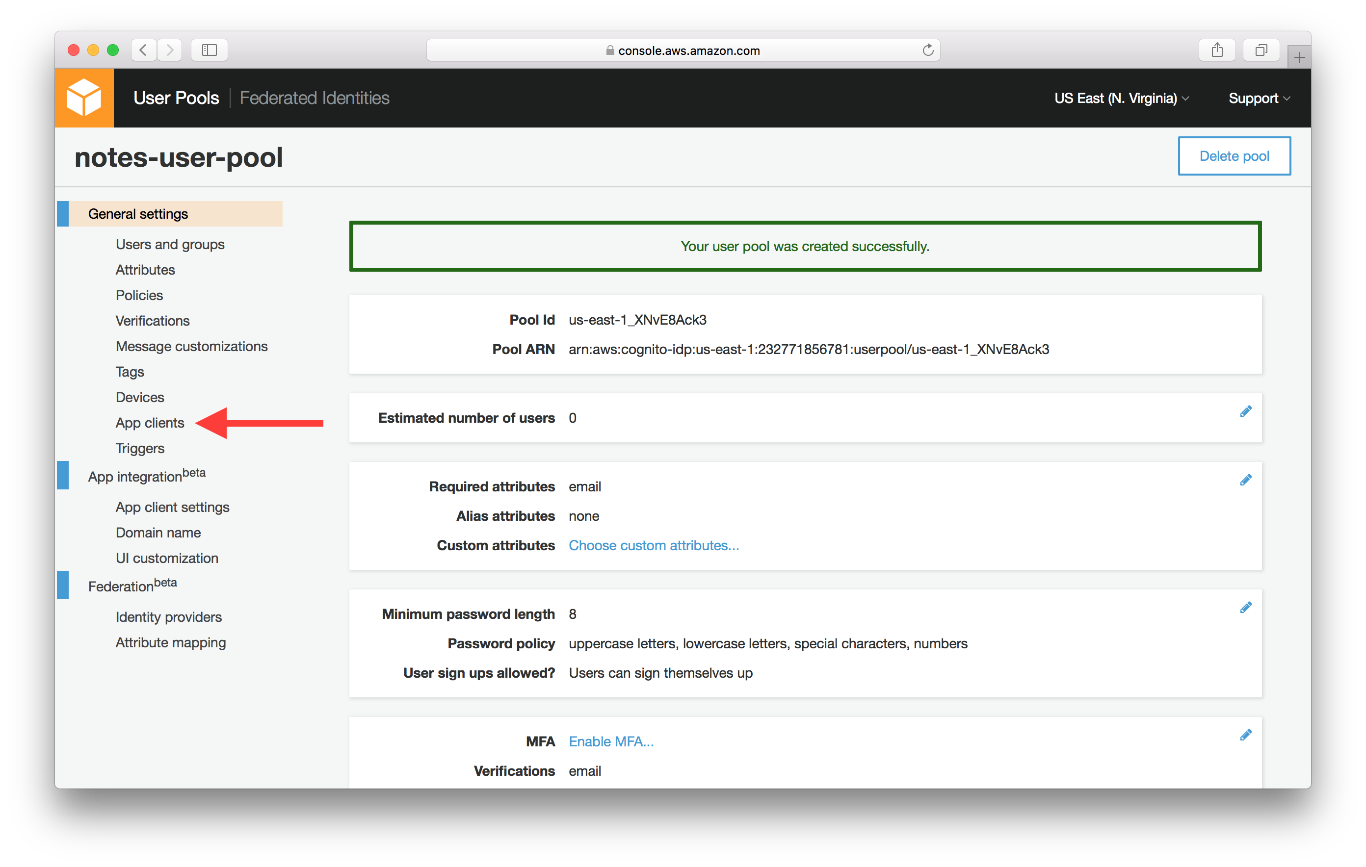 Select Congito User Pool Apps Screenshot