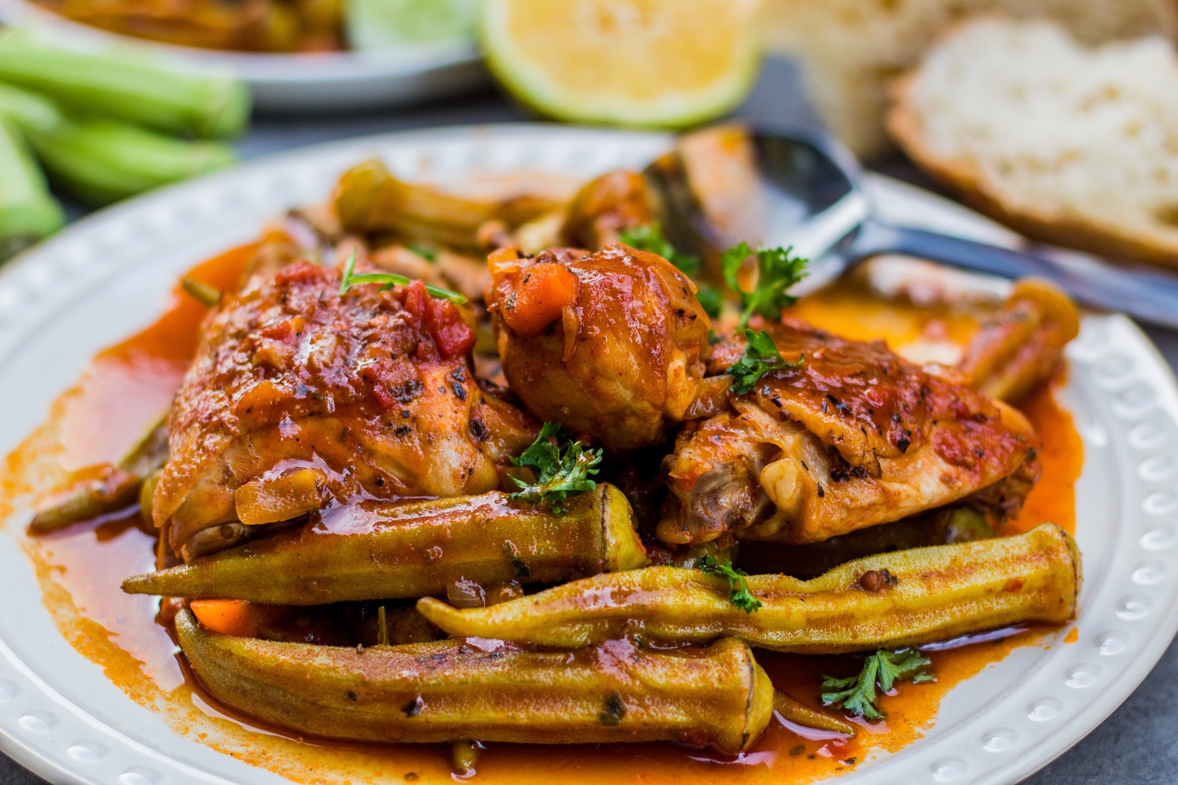 Greek okra chicken